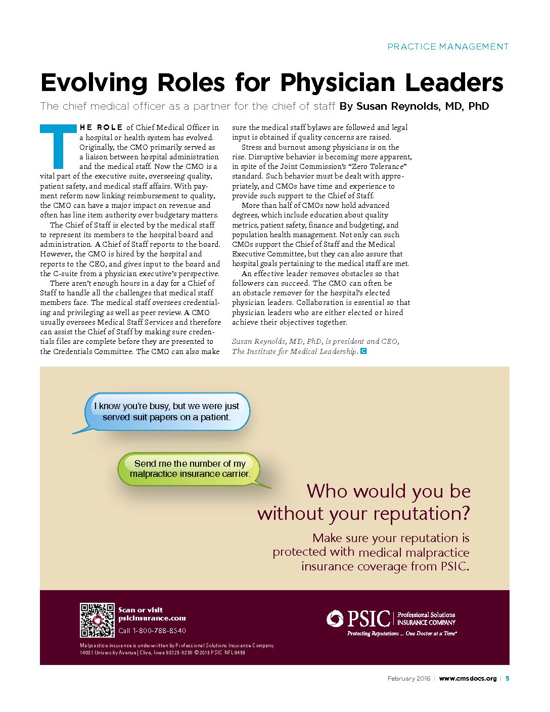Evolving Roles for Physician Leaders