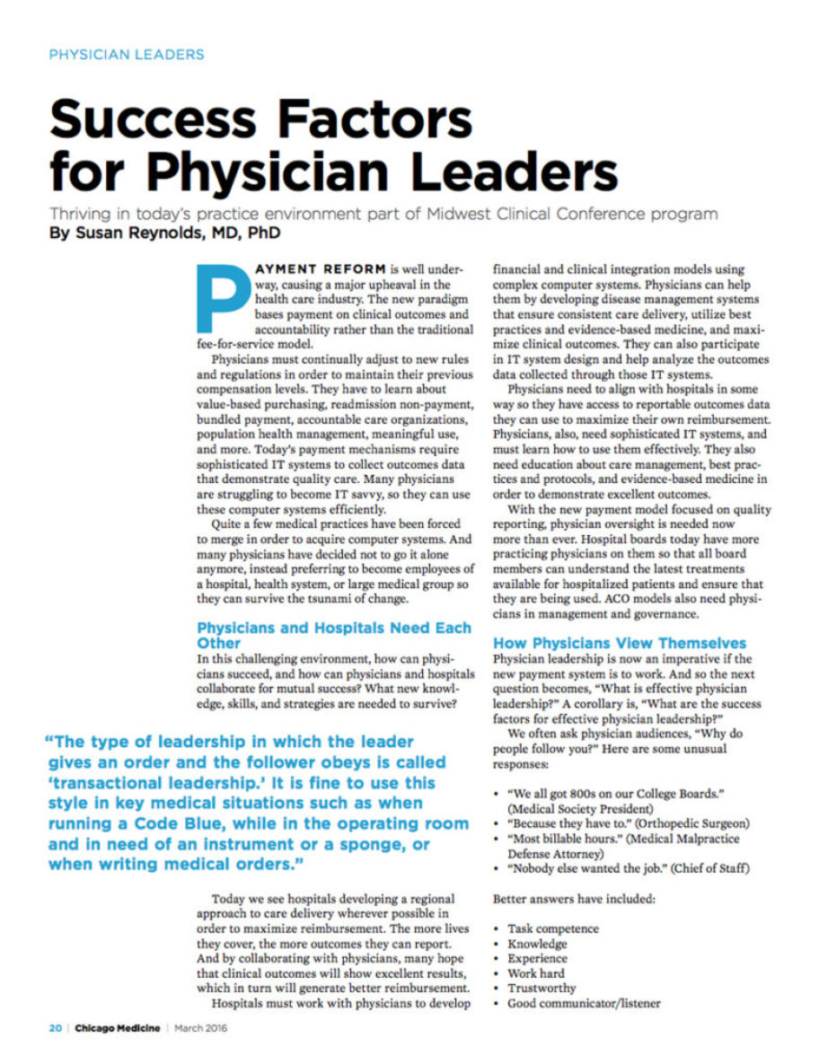 Success Factors for Physician Leaders